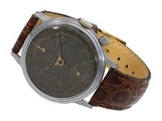 Wristwatch: very early, large antimagnetic chronograph with black dial, Pierce Patented, No.