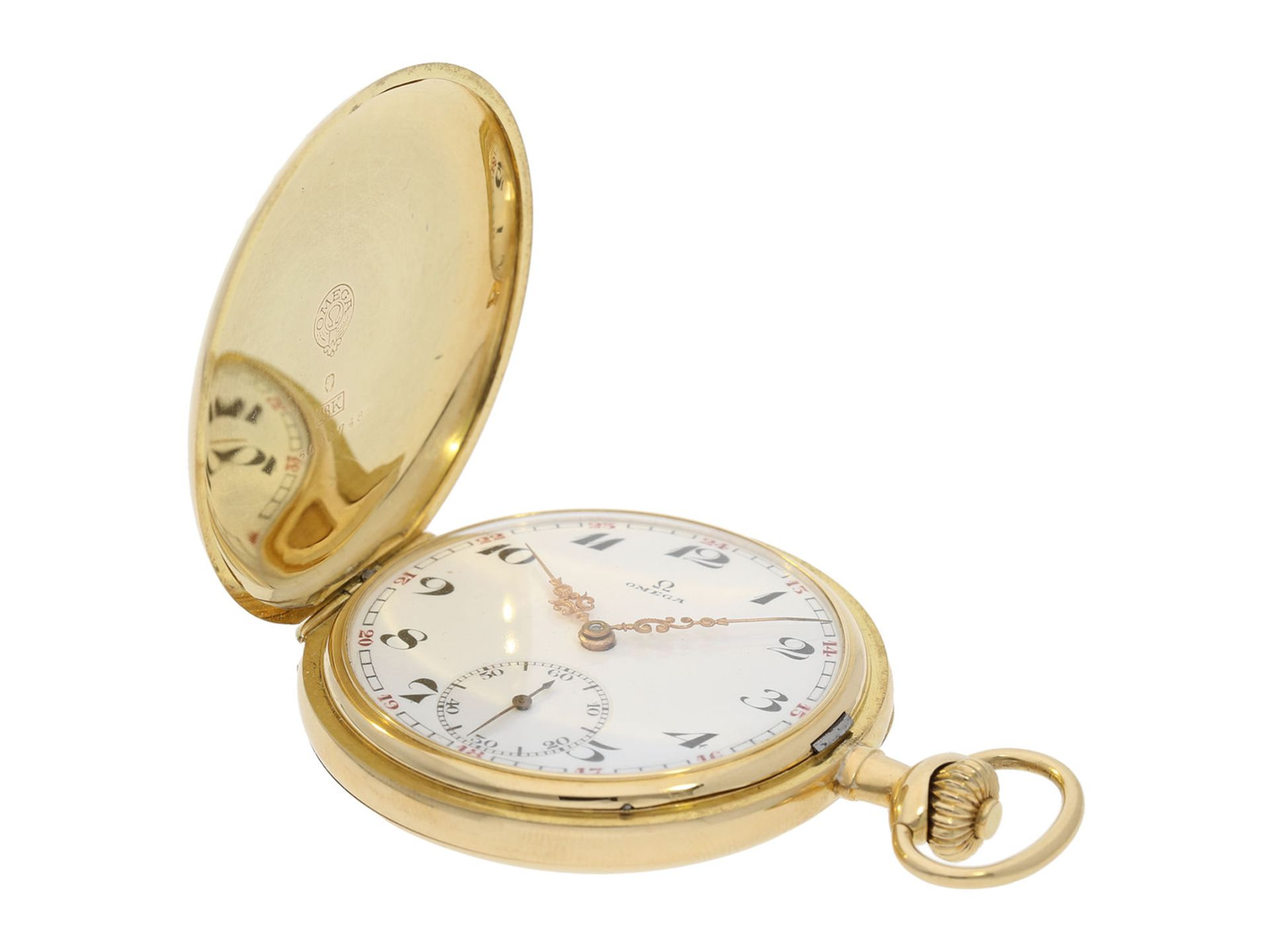 Pocket watch: Omega gold hunting case watch, ca. 1912 - Bild 4 aus 8