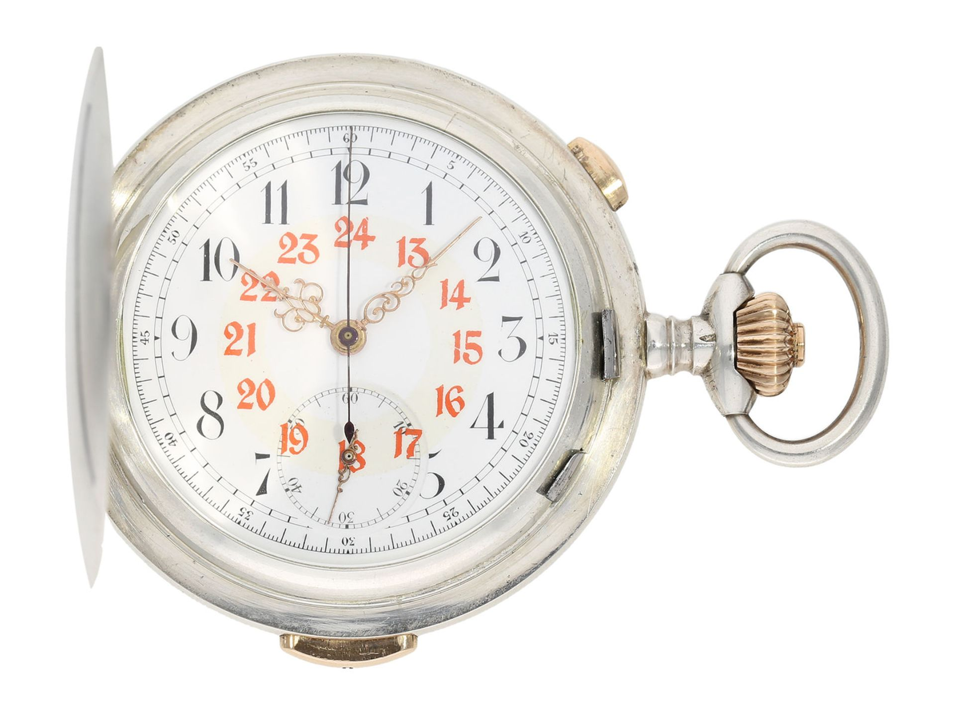 Pocket watch: high quality hunting case watch repeater with chronograph, Patent Swiss 13944 (