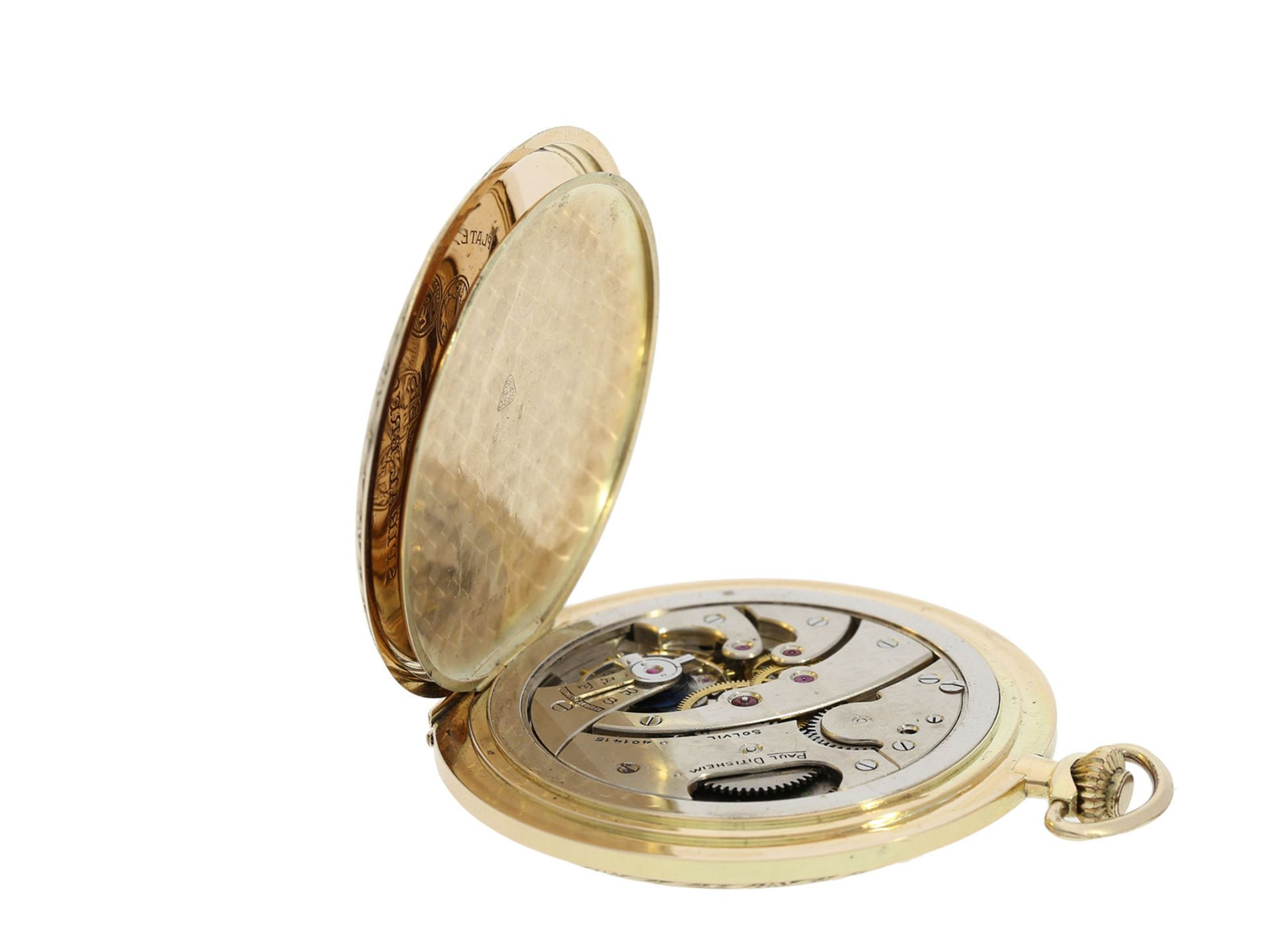 Pocket watch: especially large and elegant Art Deco gold hunting case watch in very good - Bild 6 aus 8