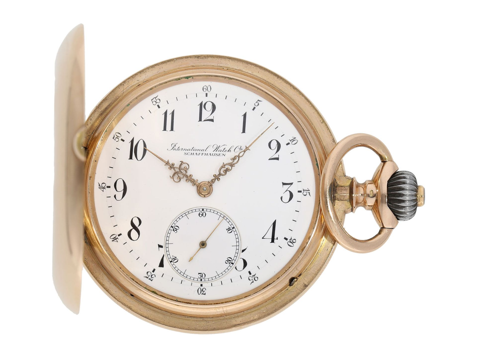 Pocket watch: particularly heavy and large, early pink gold hunting case watch, IWC Schaffhausen,
