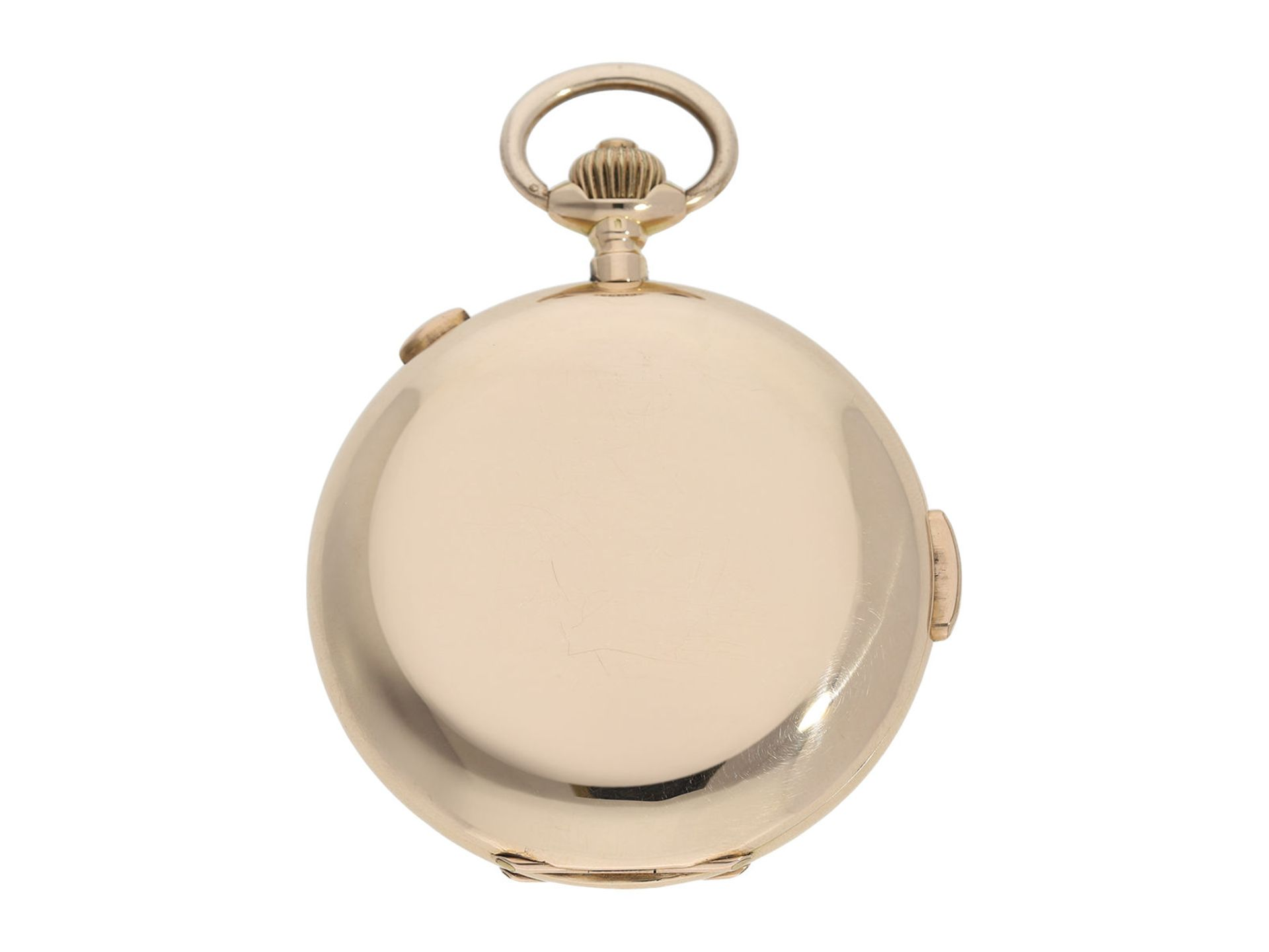 Pocket watch: large Swiss gold hunting case repeater with chronograph, brand Invicta, No. 77372, ca. - Bild 5 aus 8