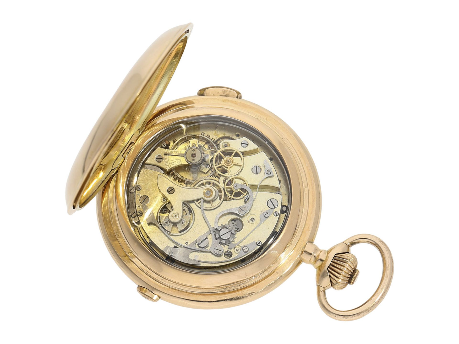 Pocket watch: especially large and heavy Swiss gold hunting case repeater with chronograph, Audemars - Bild 3 aus 8