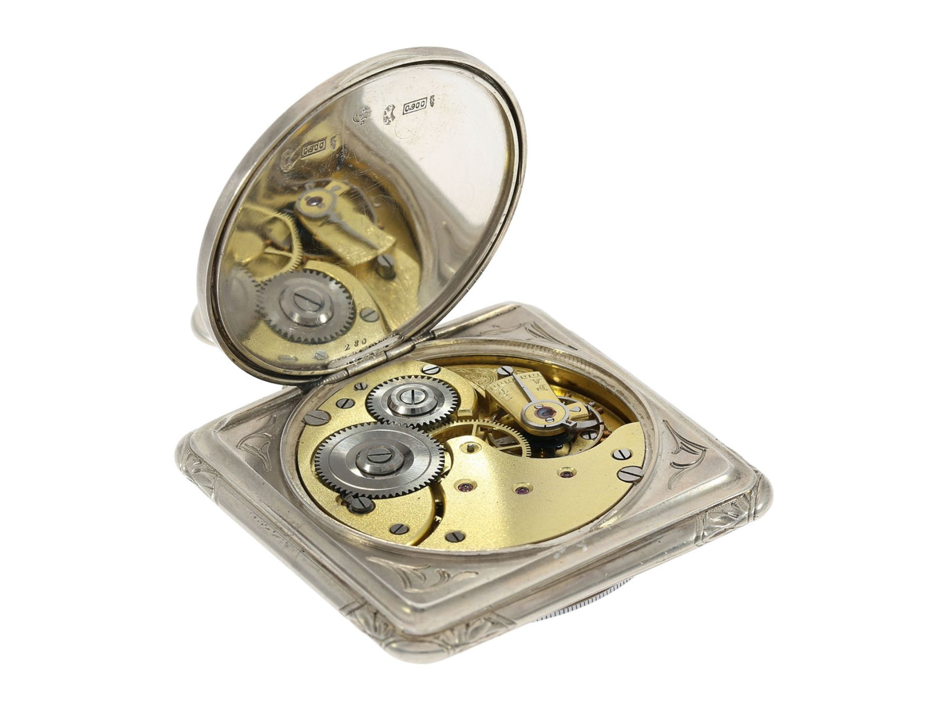 Pocket watch: very rare square Art Nouveau Omega pocket watch, silver, ca. 1900 - Bild 5 aus 5