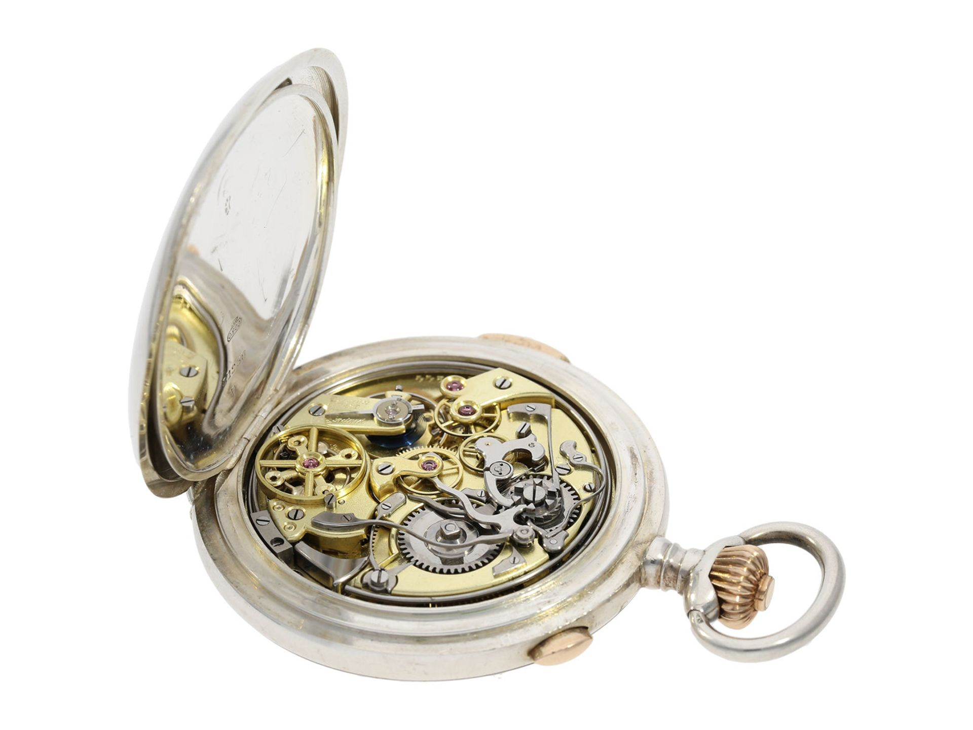 Pocket watch: high quality hunting case watch repeater with chronograph, Patent Swiss 13944 ( - Bild 5 aus 7