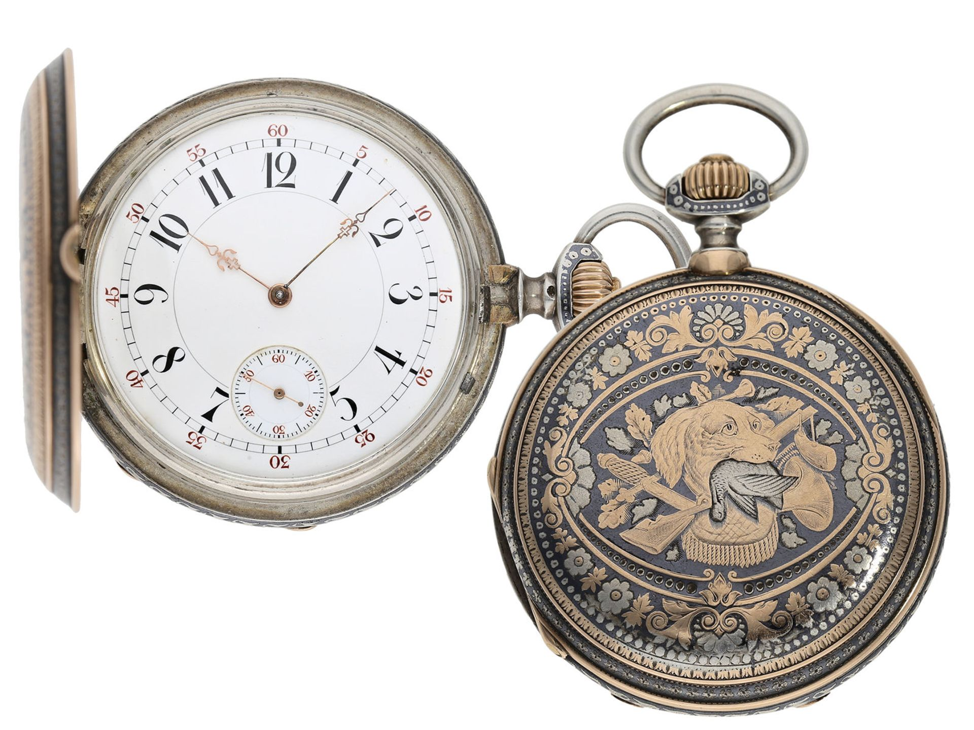 Pocket watch: extremely splendid Tula hunting case watch pink gold/ silver, high quality