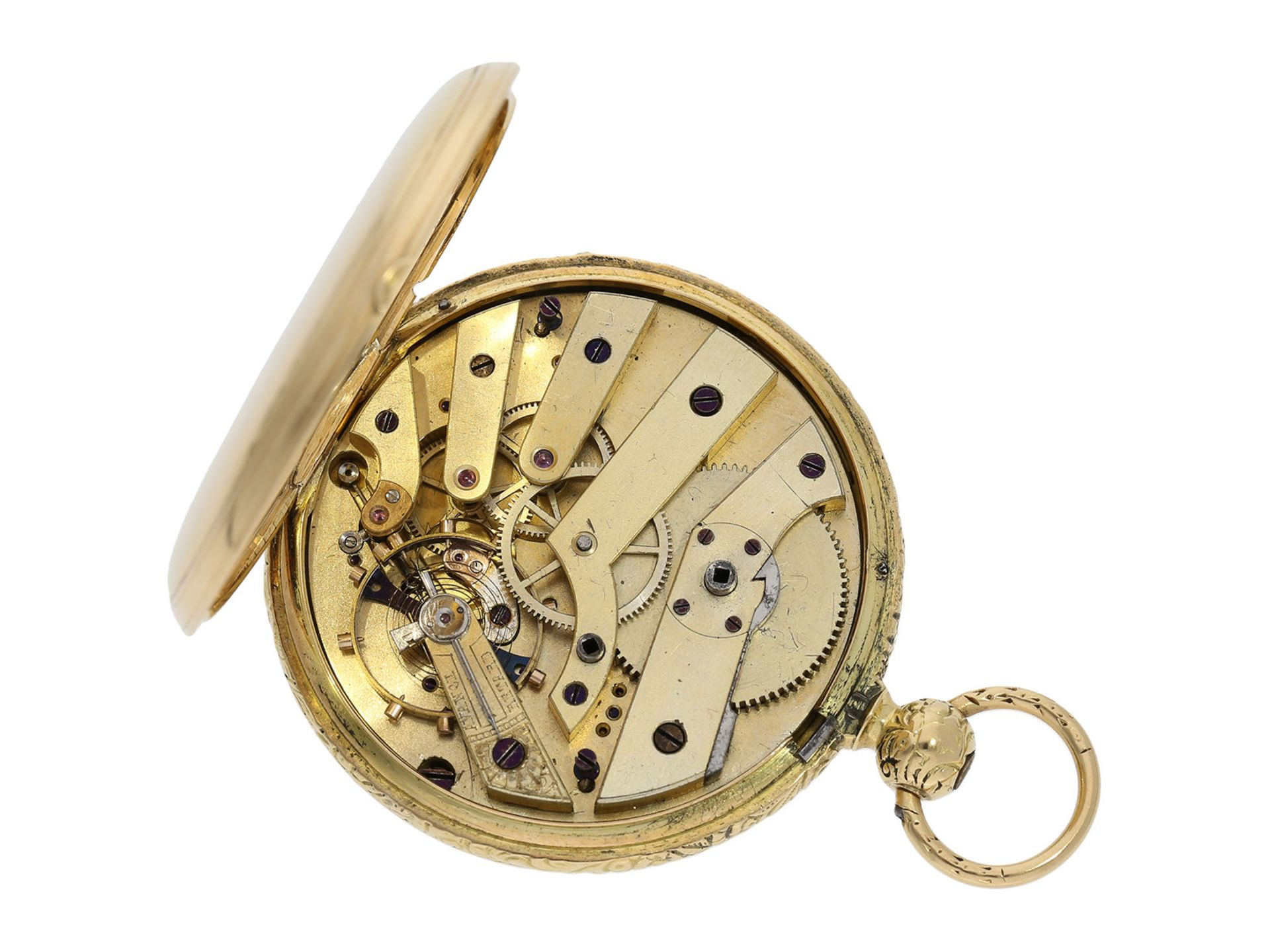 Pocket watch: interesting early gold hunting case watch for the Ottoman market/ Turkish market, - Bild 5 aus 8