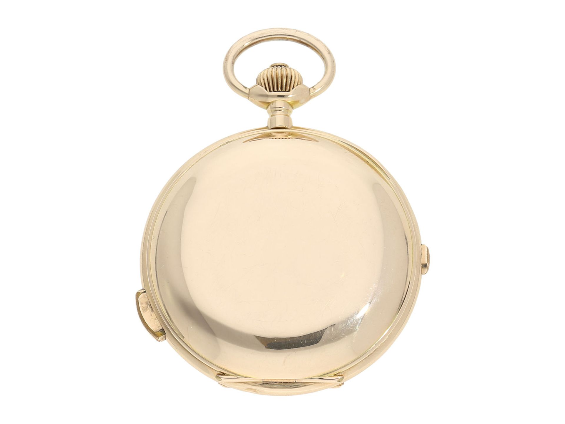 Pocket watch: especially large and heavy Swiss gold hunting case repeater with chronograph, Audemars - Bild 8 aus 8