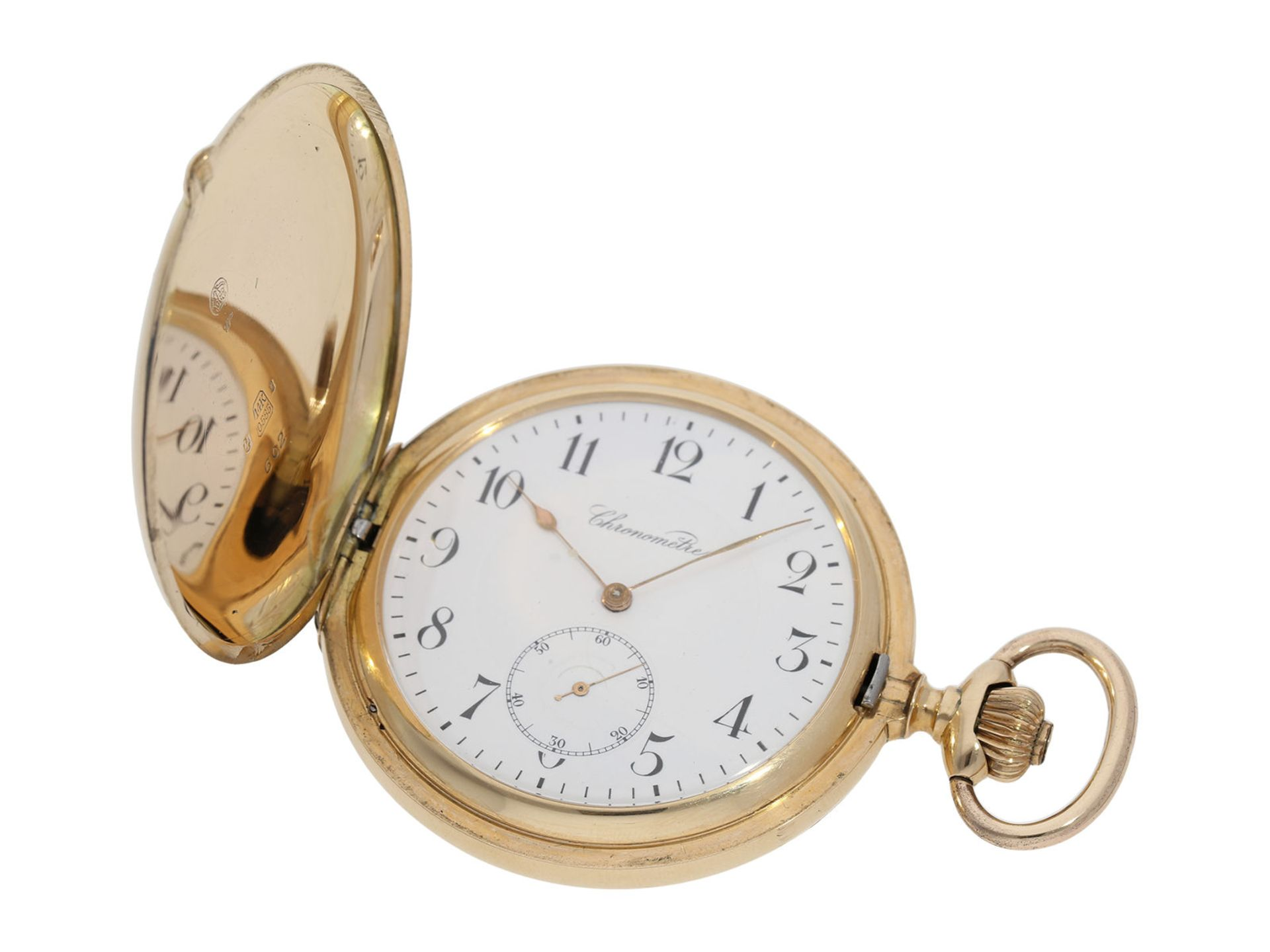 Pocket watch: especially heavy Swiss gold hunting case watch with chronometer escapement, ca. - Bild 2 aus 8