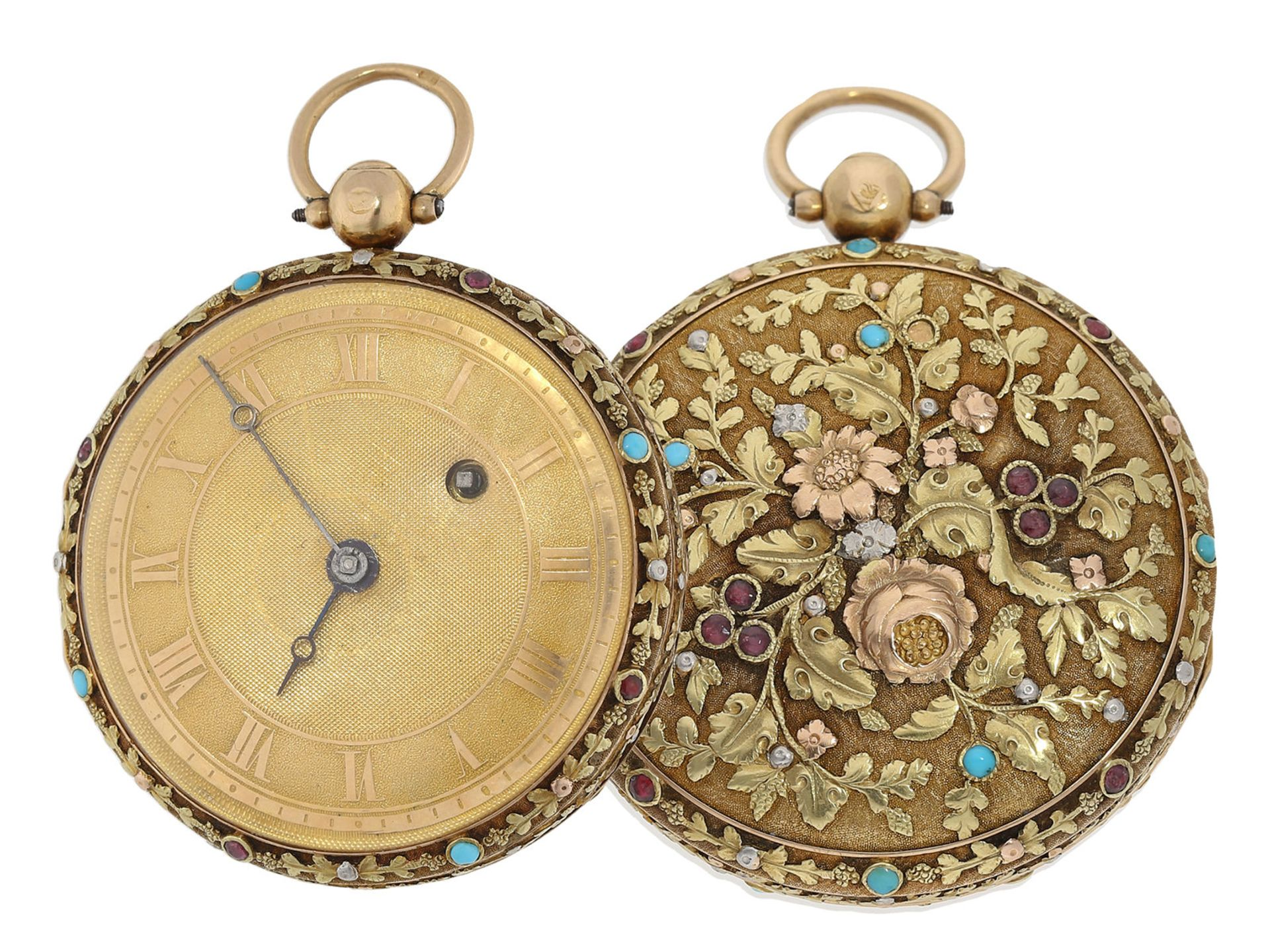 Pocket watch: museum-like 18K 4-coloured verge watch with turquoise setting and corresponding