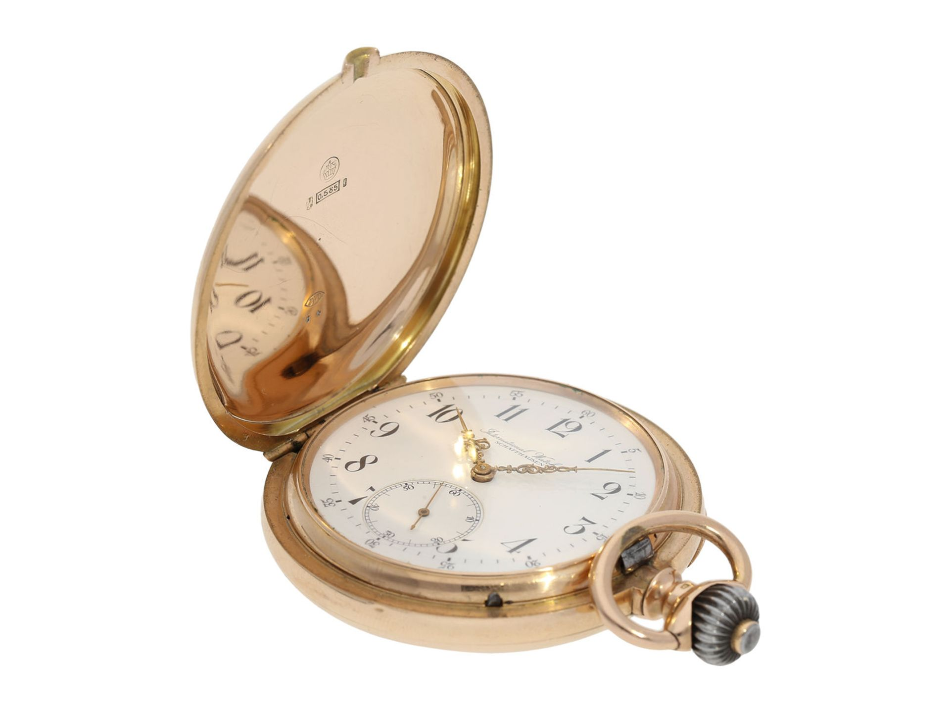 Pocket watch: particularly heavy and large, early pink gold hunting case watch, IWC Schaffhausen, - Bild 2 aus 6