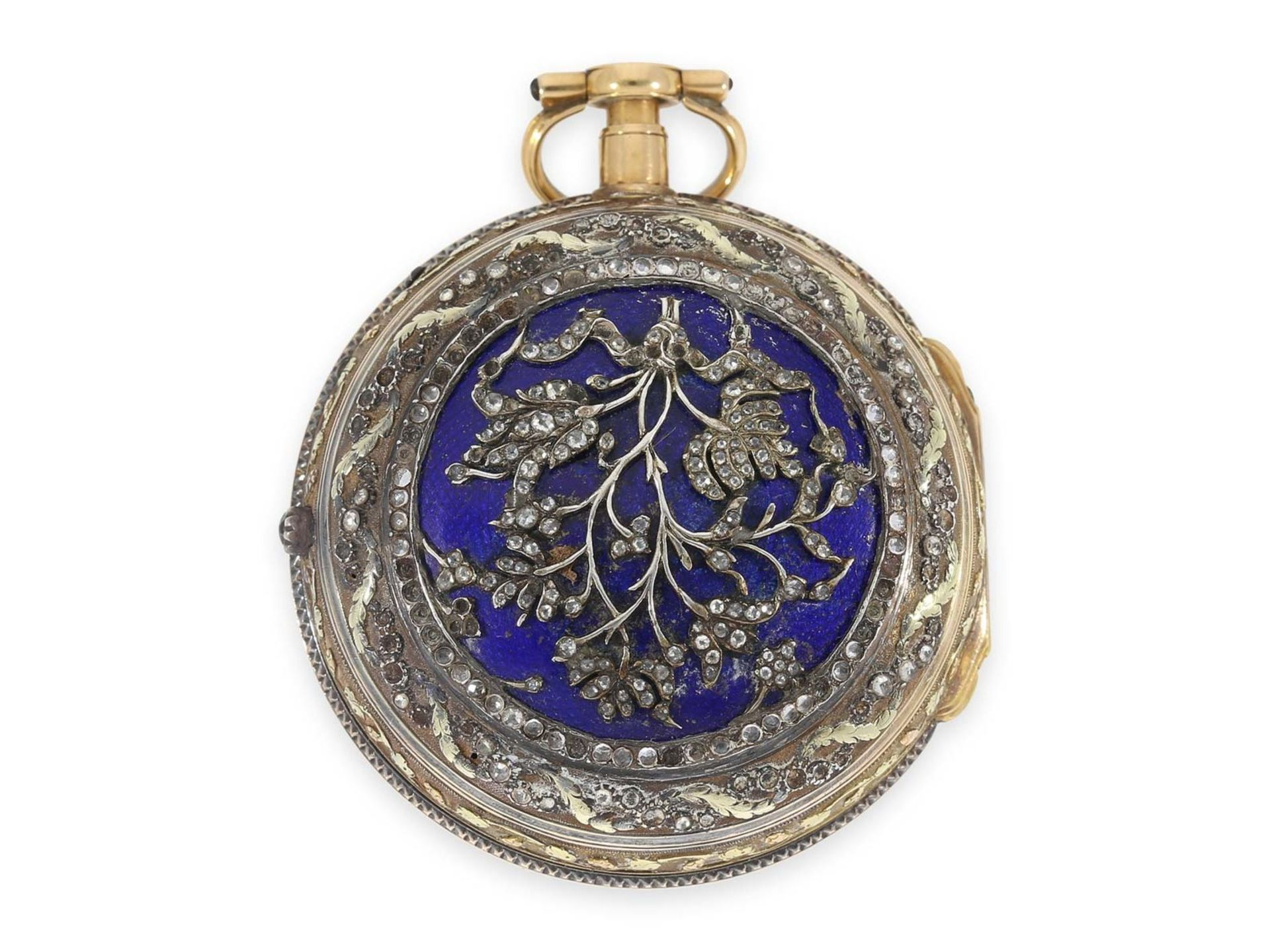 Pocket watch: extraordinary large Italian verge watch repeater a toc et a tact, Les Freres Lance