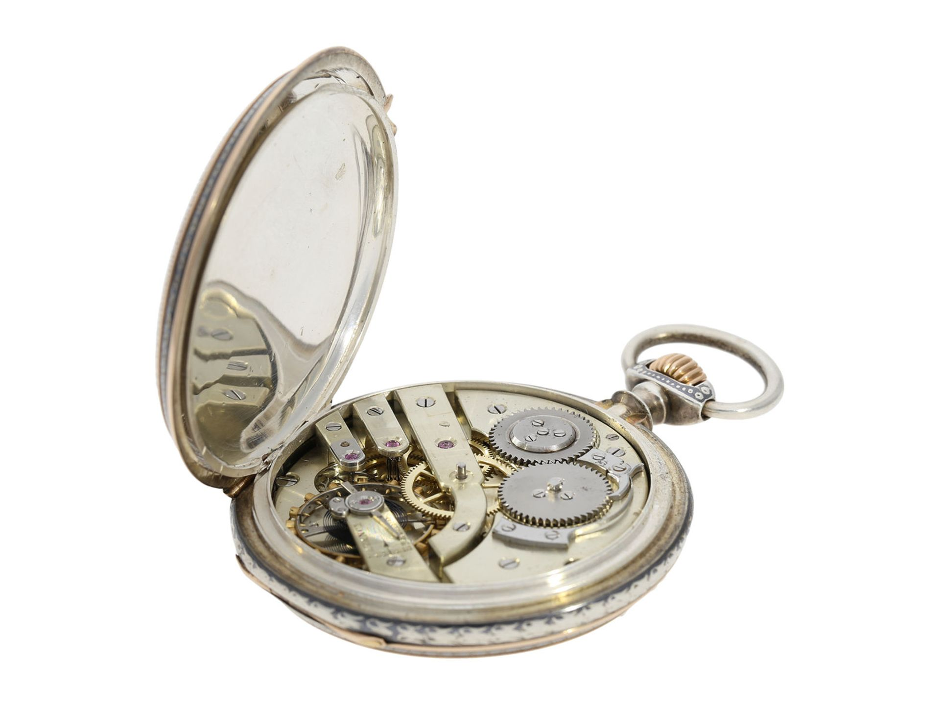 Pocket watch: extremely splendid Tula hunting case watch pink gold/ silver, high quality - Bild 4 aus 7