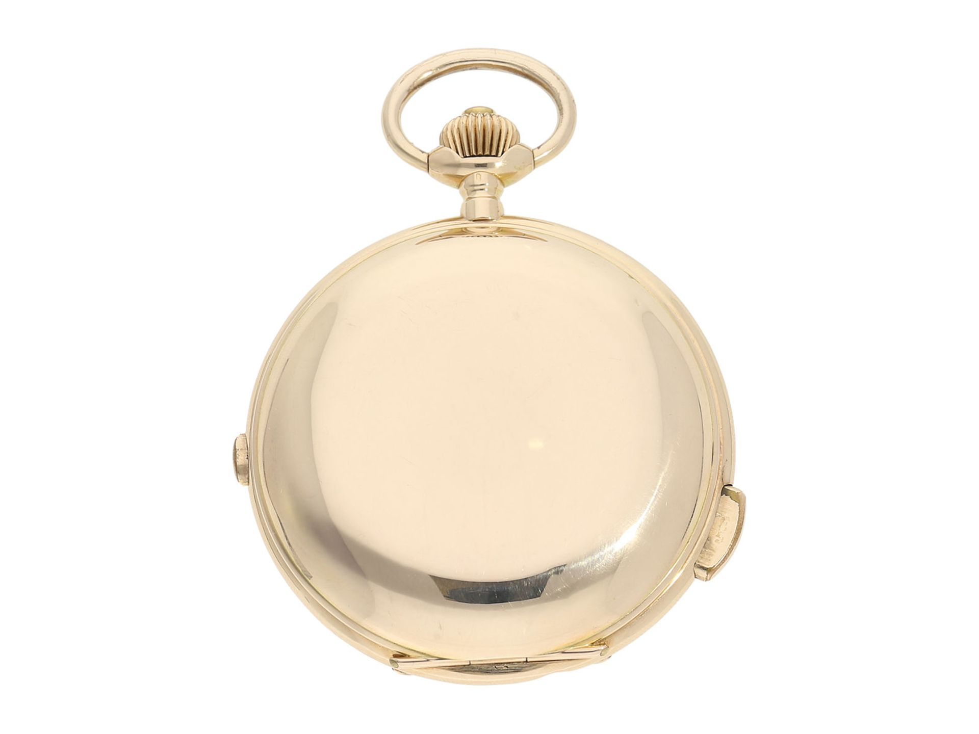 Pocket watch: especially large and heavy Swiss gold hunting case repeater with chronograph, Audemars - Bild 7 aus 8