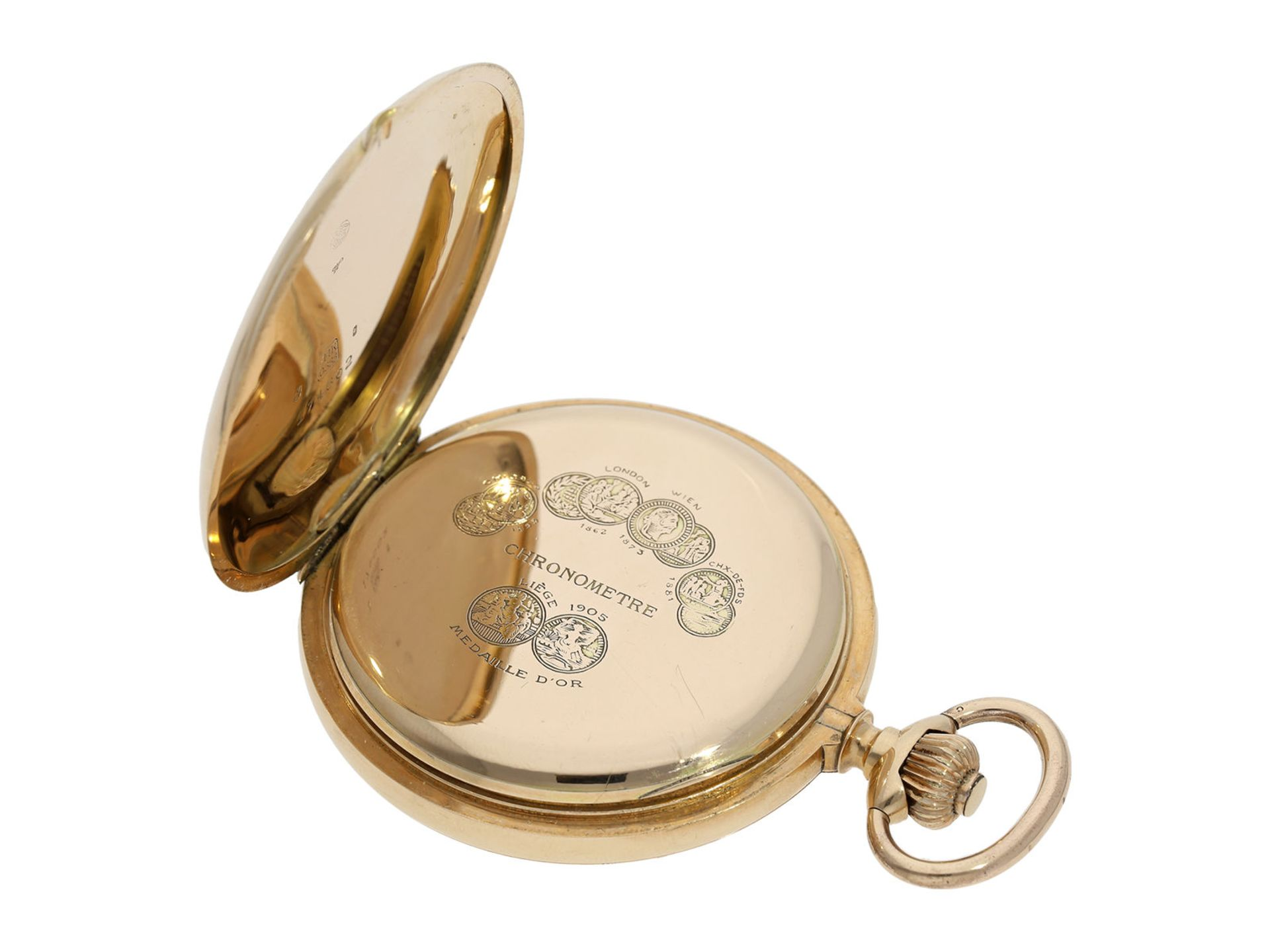 Pocket watch: especially heavy Swiss gold hunting case watch with chronometer escapement, ca. - Bild 4 aus 8