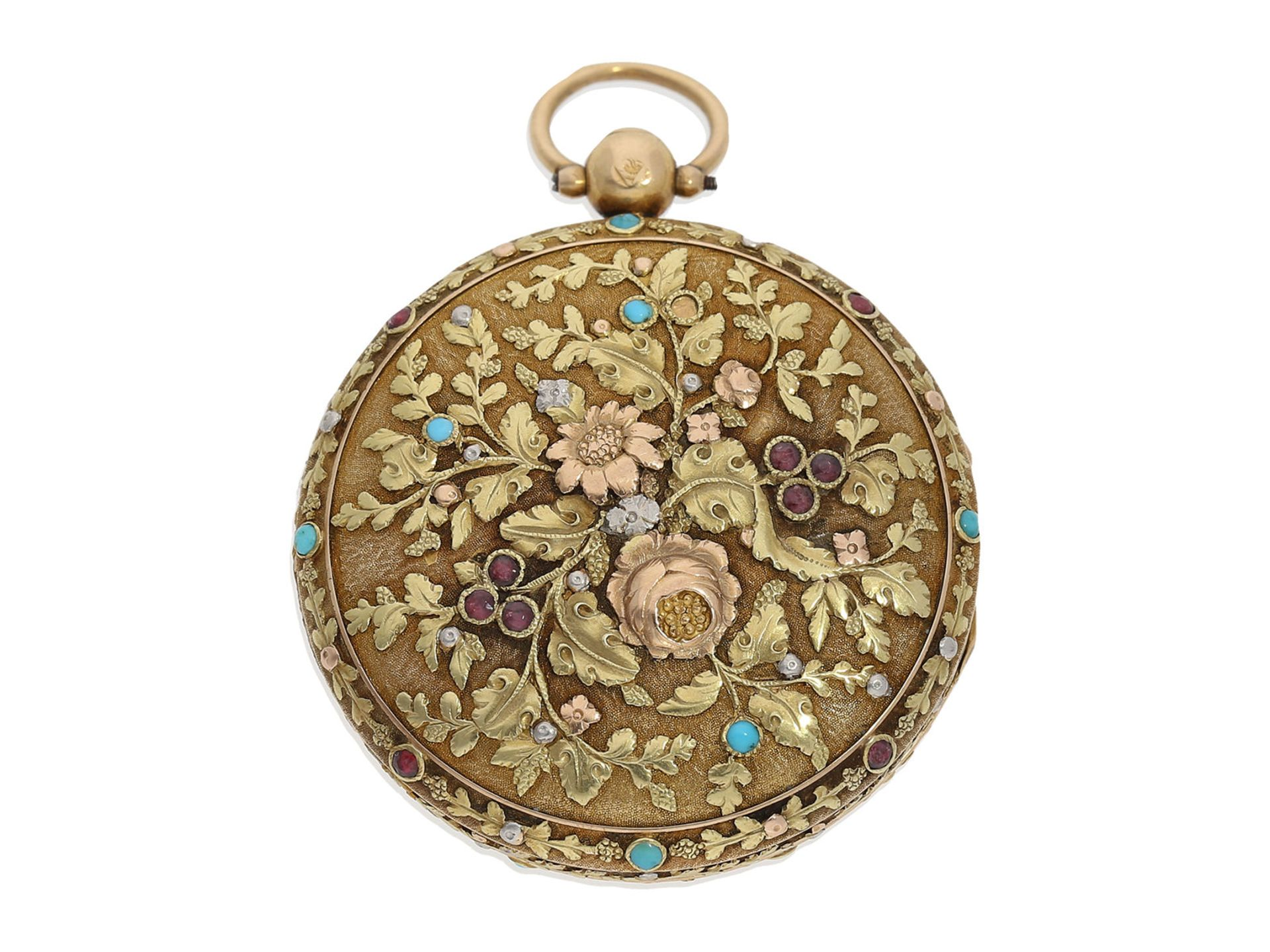 Pocket watch: museum-like 18K 4-coloured verge watch with turquoise setting and corresponding - Bild 2 aus 7