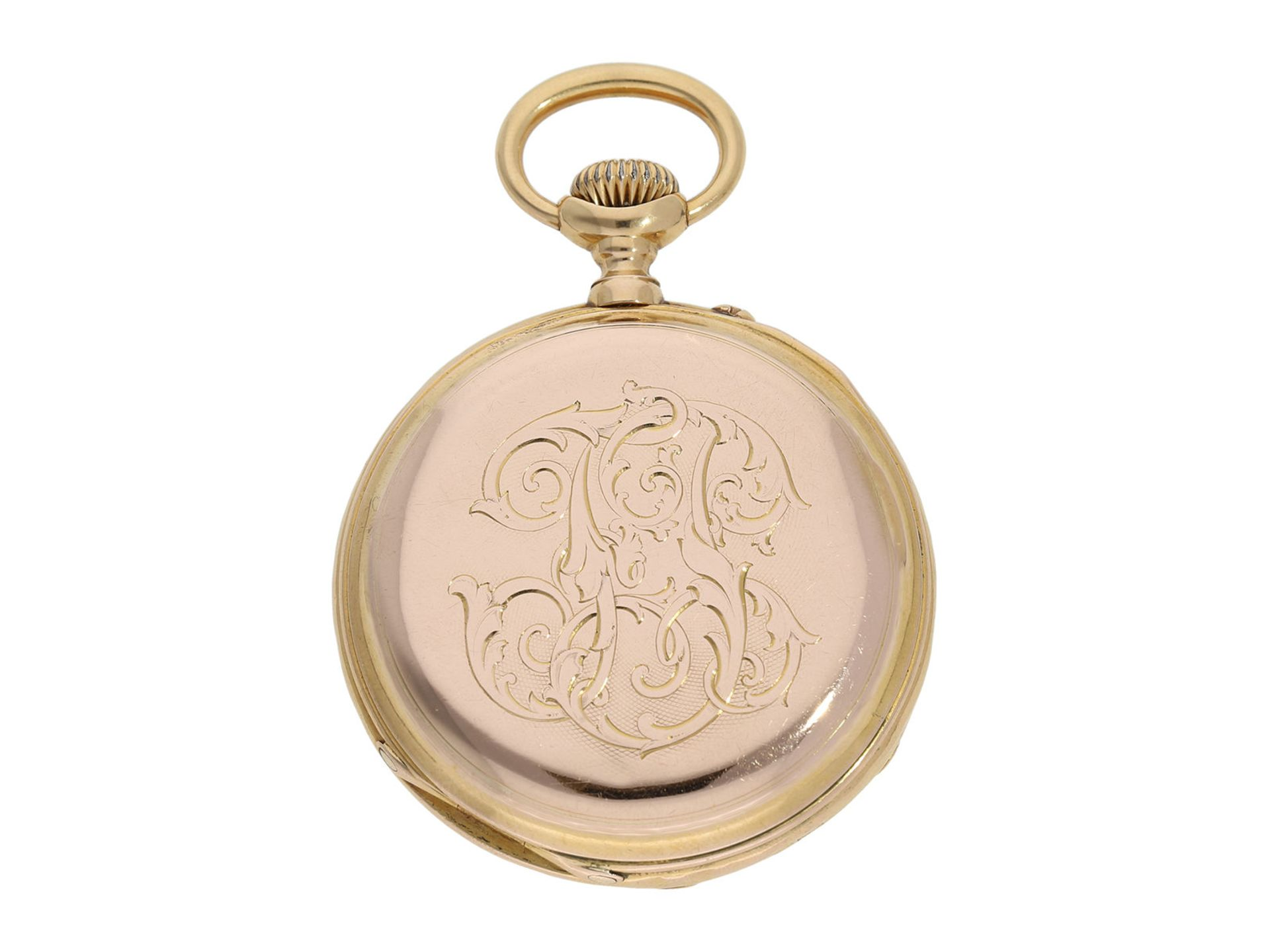 Pocket watch: technically interesting pocket watch with rare crown winding in manner of O. - Bild 5 aus 5