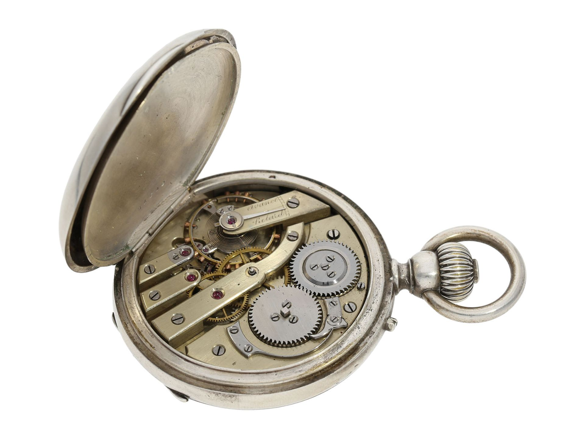Pocket watch: extremely rare and mysterious very fine quality chronograph with original box, gold/ - Bild 4 aus 6