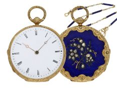 Pocket watch/ pendant watch: elegant gold/ enamel lady's Lepine with diamond setting and original