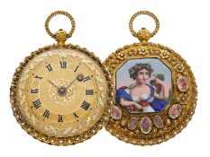 Pocket watch: gold splendour verge watch with special case decoration and very fine enamel