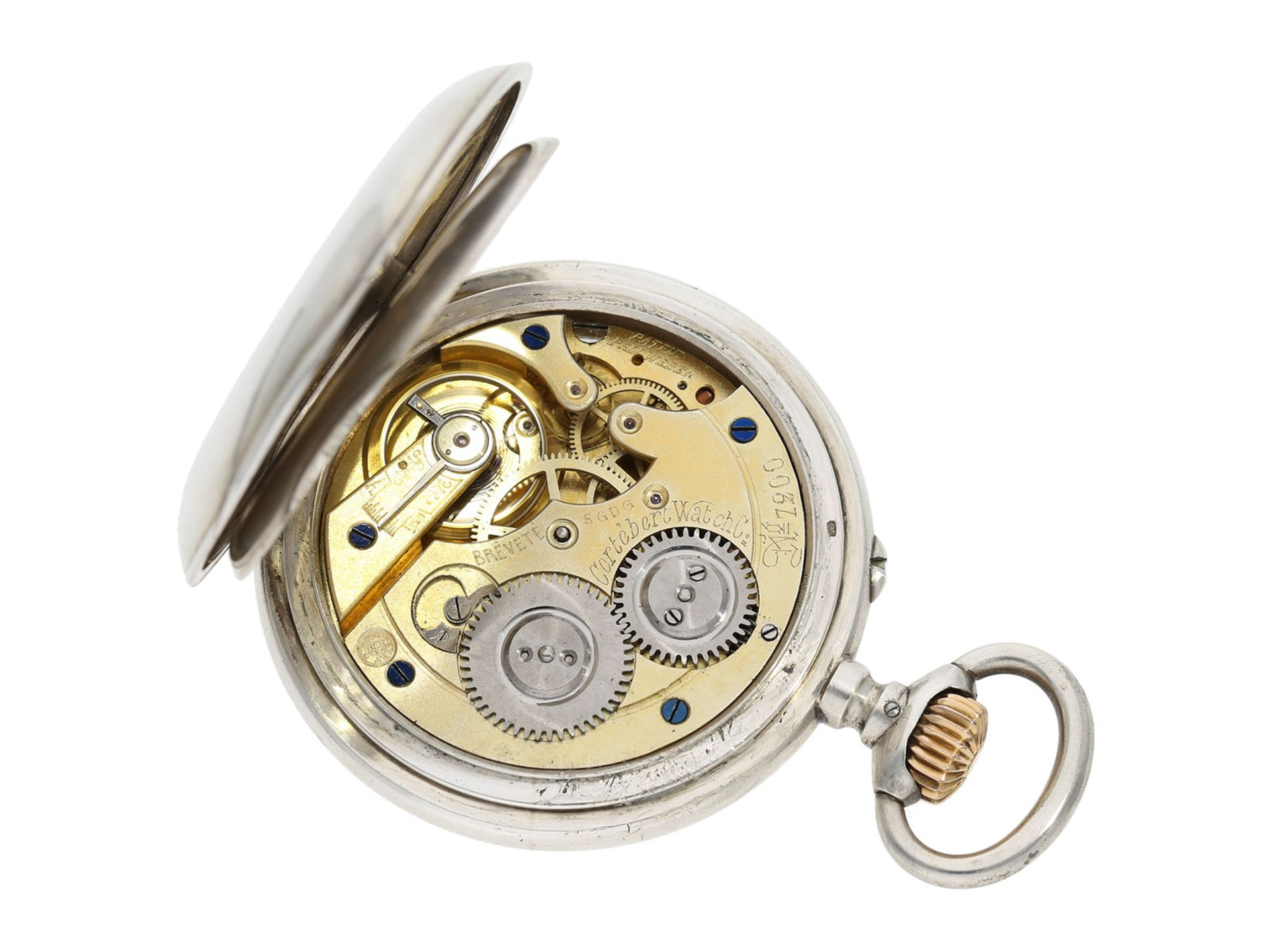 Pocket watch: rare digital pocket watch with jumping hour and jumping minute, Pallweber system, - Bild 2 aus 5