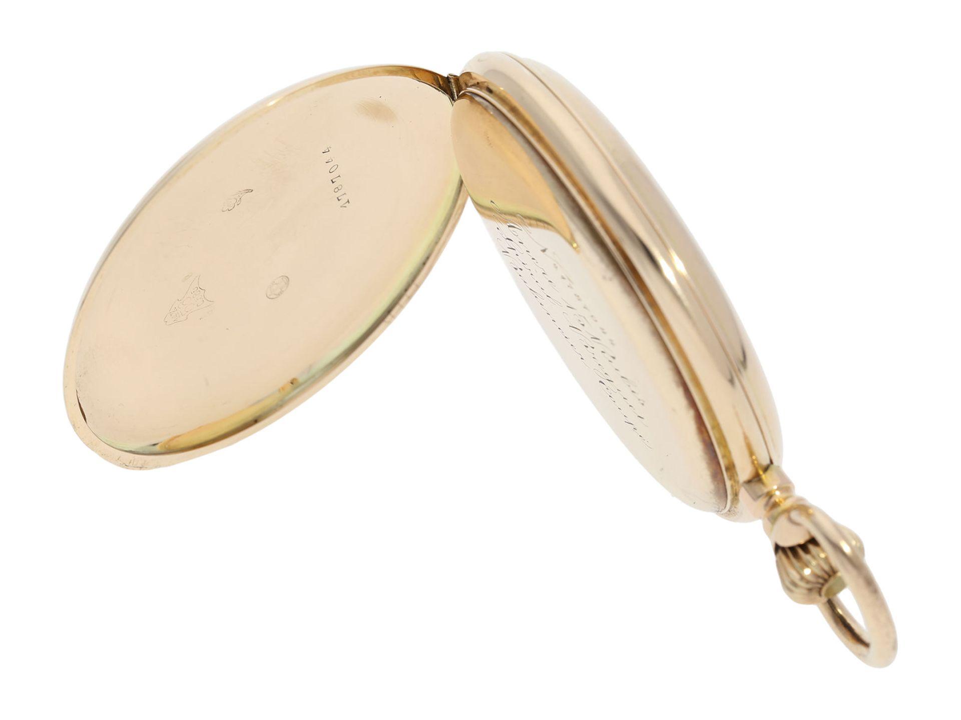 Pocket watch: heavy pink gold hunting case watch, Swiss Ankerchronometer, around 1900, No. - Bild 4 aus 8