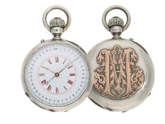 Pocket watch: extremely rare and mysterious very fine quality chronograph with original box, gold/