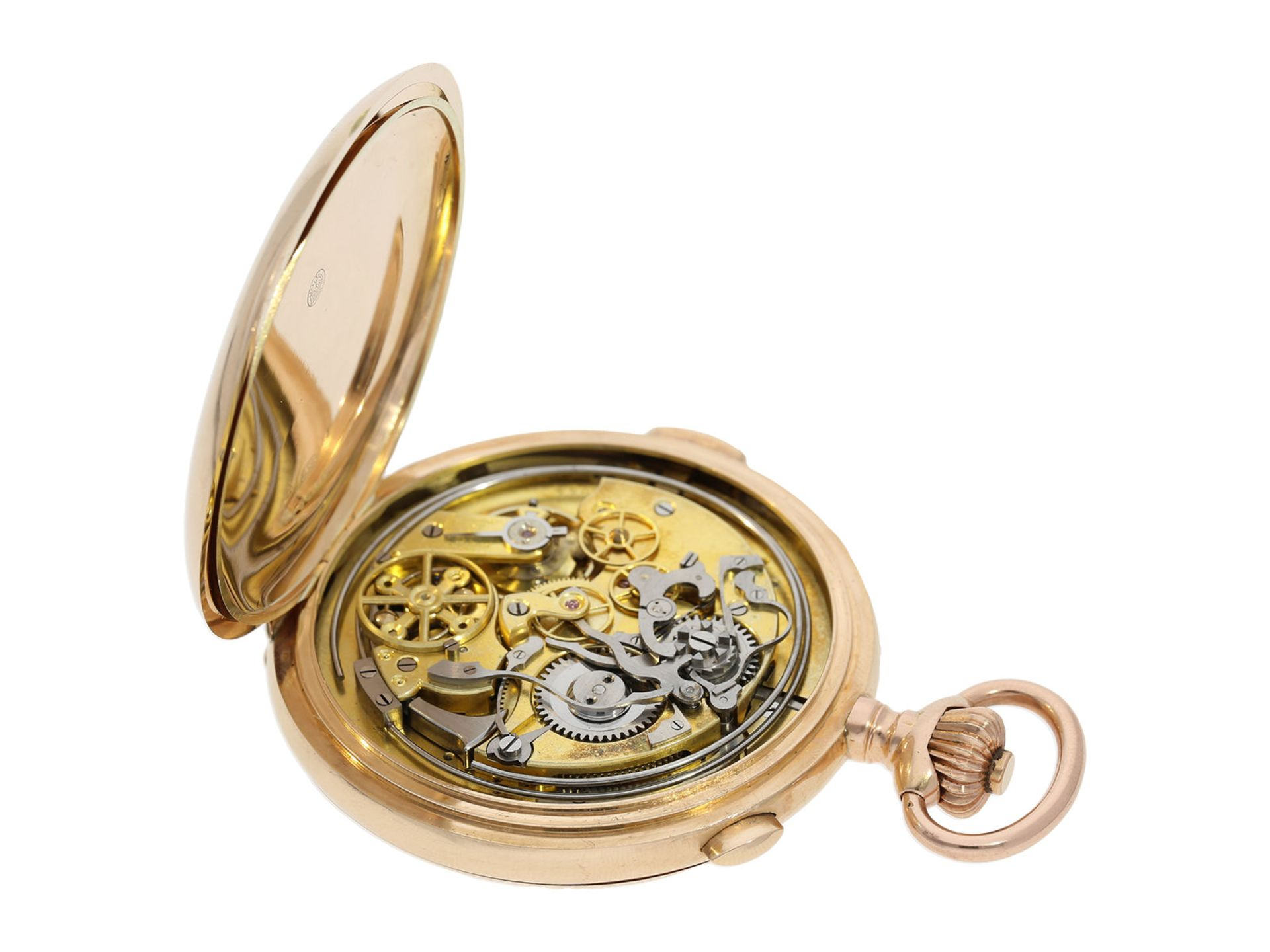 Pocket watch: especially large and heavy Swiss gold hunting case minute repeater with chronograph, - Bild 4 aus 9