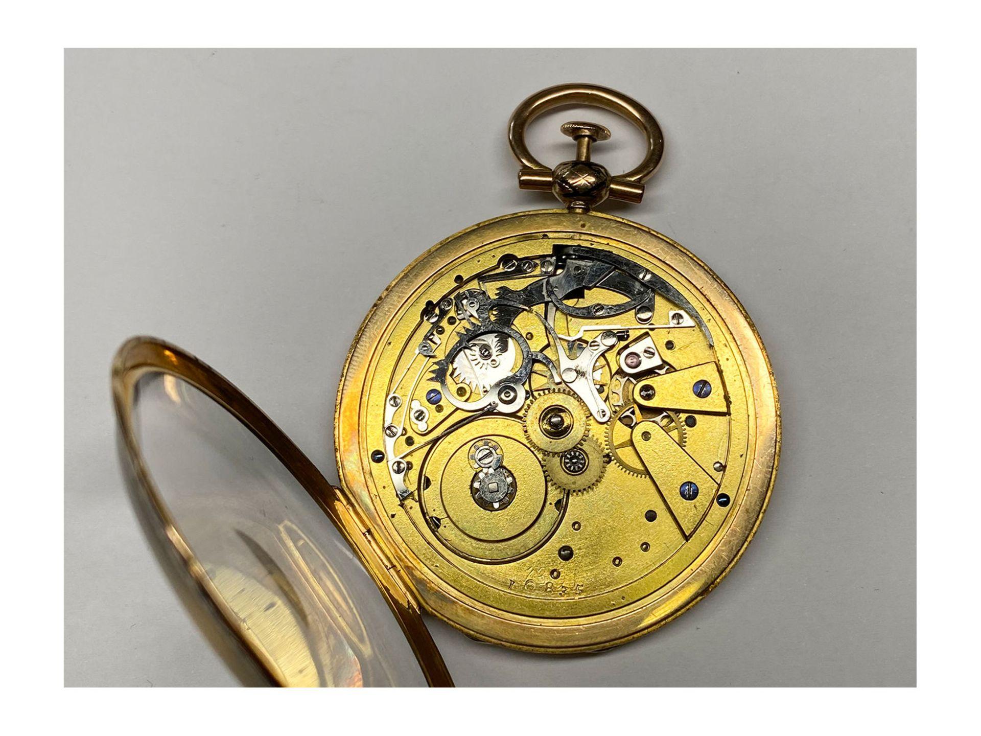 Pocket watch: magnificent gold/ enamel Lepine with rare case decoration and repeater, fine calibre - Bild 6 aus 7
