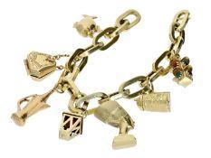 Armband: interessantes vintage Bettelarmband mit 7 Anhängern, 14K Gold<