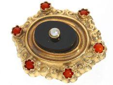 Brosche: sehr schöne antike Brosche mit Perle/Onyx und Koralle, guter Erhaltungszustand<