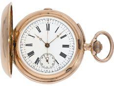 Taschenuhr: rotgoldene Savonnette mit Repetition und Chronograph, signiert A. Lugrin No.227139,