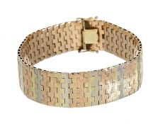 Armband: dekoratives und hochwertiges Tricolor-Goldschmiedearmband, Handarbeit, 14K Gold