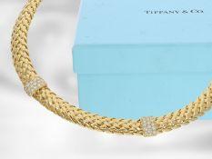 """Kette/Collier: Tiffany & Co., exquisites nahezu neuwertiges Collier """"Vannerie"""" mit Brillantbesatz,"""