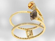 Armreif: goldener, ehemals sehr teurer und hochwertiger Designer-Armreif/Armspange mit Farbsteinen