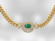 Collier: hochwertiges attraktives Smaragdcollier mit Brillanten, 18K Gold, Handarbeit Hofjuwelier