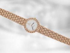 Armbanduhr: hochwertige rotgoldene Schmuckuhr mit Brillantbesatz, insgesamt ca. 0,24ct, 14K