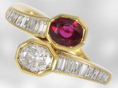 Ring: italienischer Designerring mit Rubin und Diamanten, insgesamt ca. 2,31ct, 18K Gold, teurer