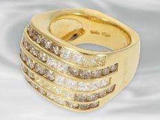 Ring: hochwertiger und äußerst massiver Designer-Cocktailring mit Brillanten/Diamanten, signiert