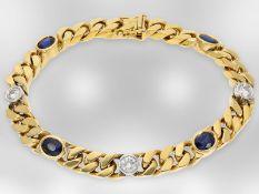 Armband: massives, 18K goldenes Goldschmiede/Panzerarmband mit Saphir-/Brillantbesatz, ca. 4,87ct,