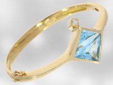 Armband/Armreif: hochwertiger Designer-Armreif mit großem Topas im Fantasieschliff und Diamant,