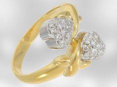 Ring: dekorativer Herzring mit Brillanten, ca. 0,28ct, 14K Gelbgold