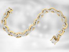 Armband: massives und hochwertiges Panzerarmband mit feinen Brillanten, 1,2ct, 18K Bicolor