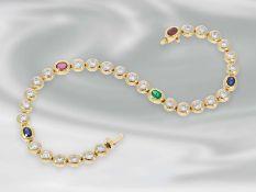 Armband: hochwertiges, äußerst attraktives Tennisarmband mit Brillanten und Saphir-, Rubin-, und