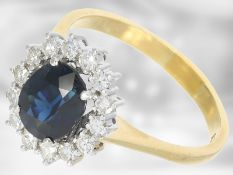 Ring: neuwertiger und sehr schöner vintage Saphir/Diamant-Blütenring, 3,42ct