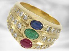 Ring: ehemals sehr teurer vintage Rubin/Saphir/Smaragd-Ring mit Brillanten, insgesamt ca. 2,11ct,
