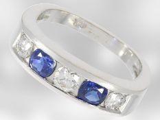 Ring: 18K Weißgoldring mit Brillant- sowie Saphirbesatz, insgesamt ca. 1ct