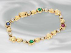 Armband: hochwertiges, modernes goldenes Herzarmband mit Smaragd-, Rubin-, Saphir- und
