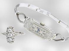 Armbanduhr/Ring: sehr schönes Art déco Schmuckset, besetzt mit Diamanten, Armbanduhr und Ring, ca.