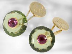 Manschettenknöpfe: 1 Paar goldene Manschettenknöpfe mit Farbsteinen(Turmaline), 14K Gelbgold,